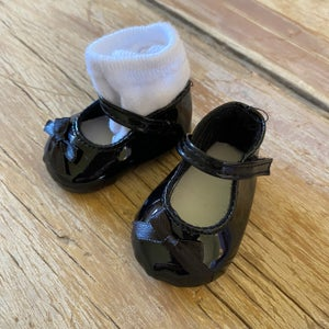 Image of Shoes and socks to suit 38cm Miniland doll - 'black'