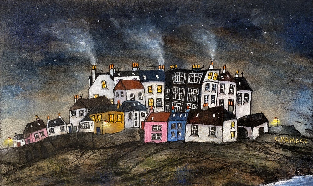 Image of East Neuk (Starry Night with Smoking Chimneys)