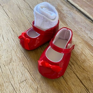 Image of Shoes and socks to suit 38cm Miniland doll 'red'