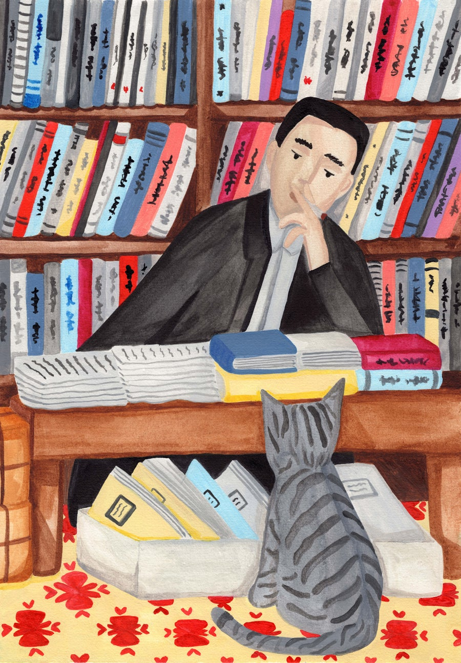 Image of Yukio Mishima and his cat - original illustration