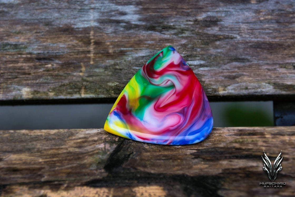 Image of NEW: The 3mm cast acrylic 'Crazy Swirls' plectrum