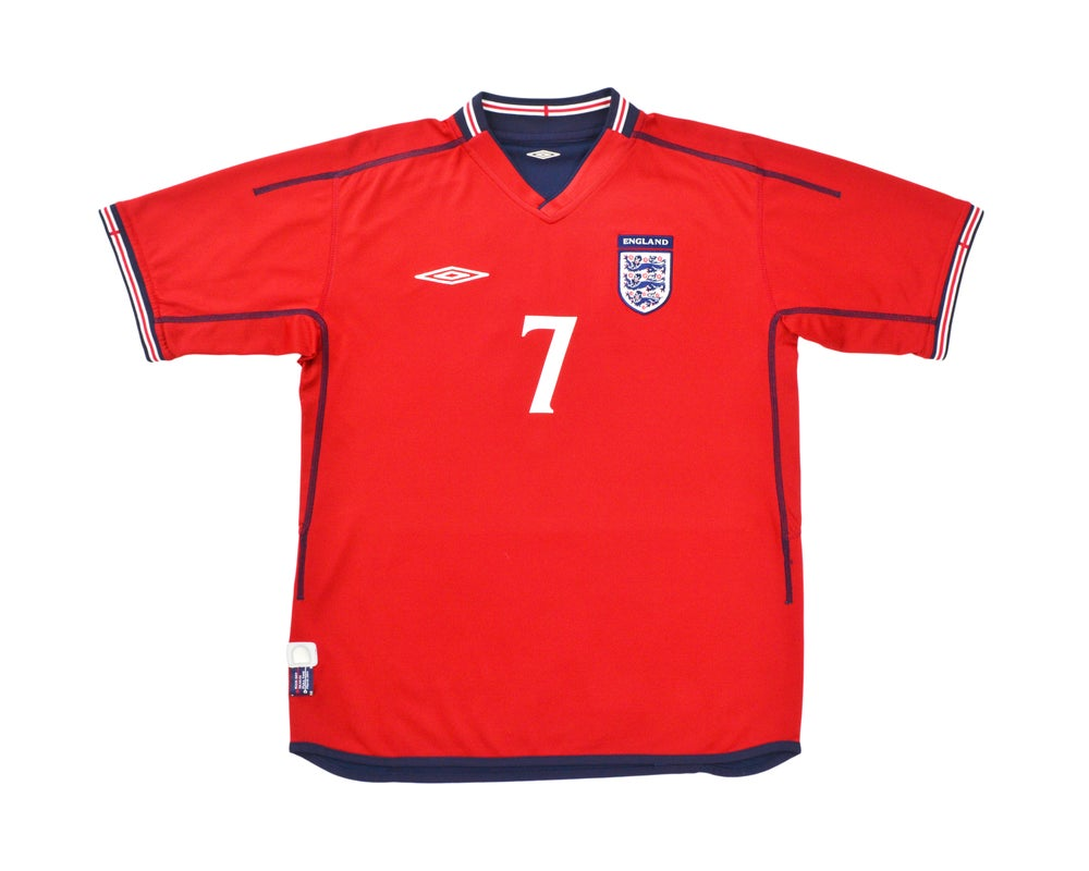 Image of 2002-04 Umbro England Away Shirt 'Beckham 7' L & XL