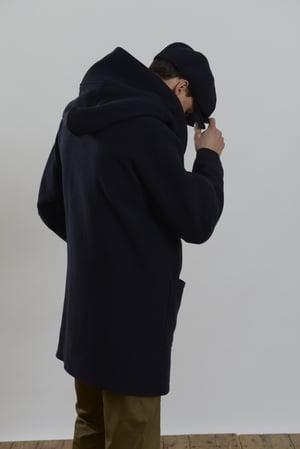 Image of Fisherman long coat Navy wool £410.00