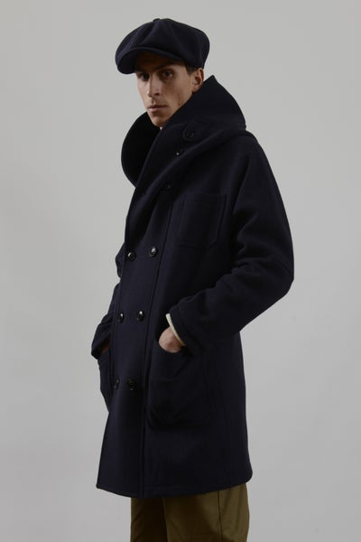 Image of Fisherman long coat Navy wool