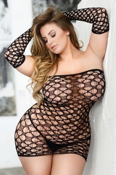 #Heat Plus Netted Mini Dress Set
