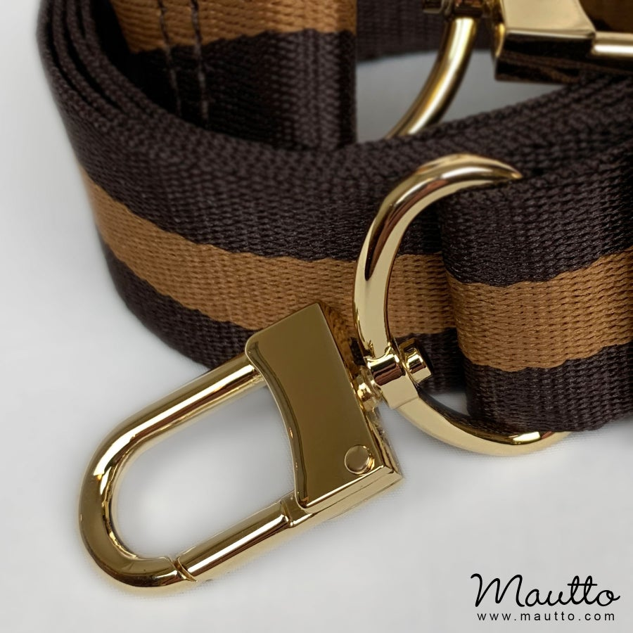 "Image of Dark Brown & Gold Strap for Bags - 1.5"" Wide Nylon - Adjustable Length - U Shape Style #16XLG Hooks"