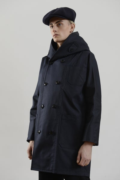 Image of Fisherman Long Coat Wax cotton Dark Navy