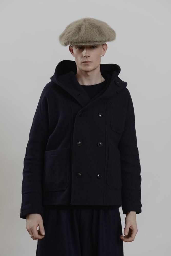 Image of Fisherman Short Coat Navy wool £390.00