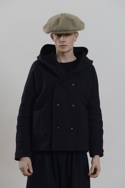 Image of Fisherman Short Coat Navy wool