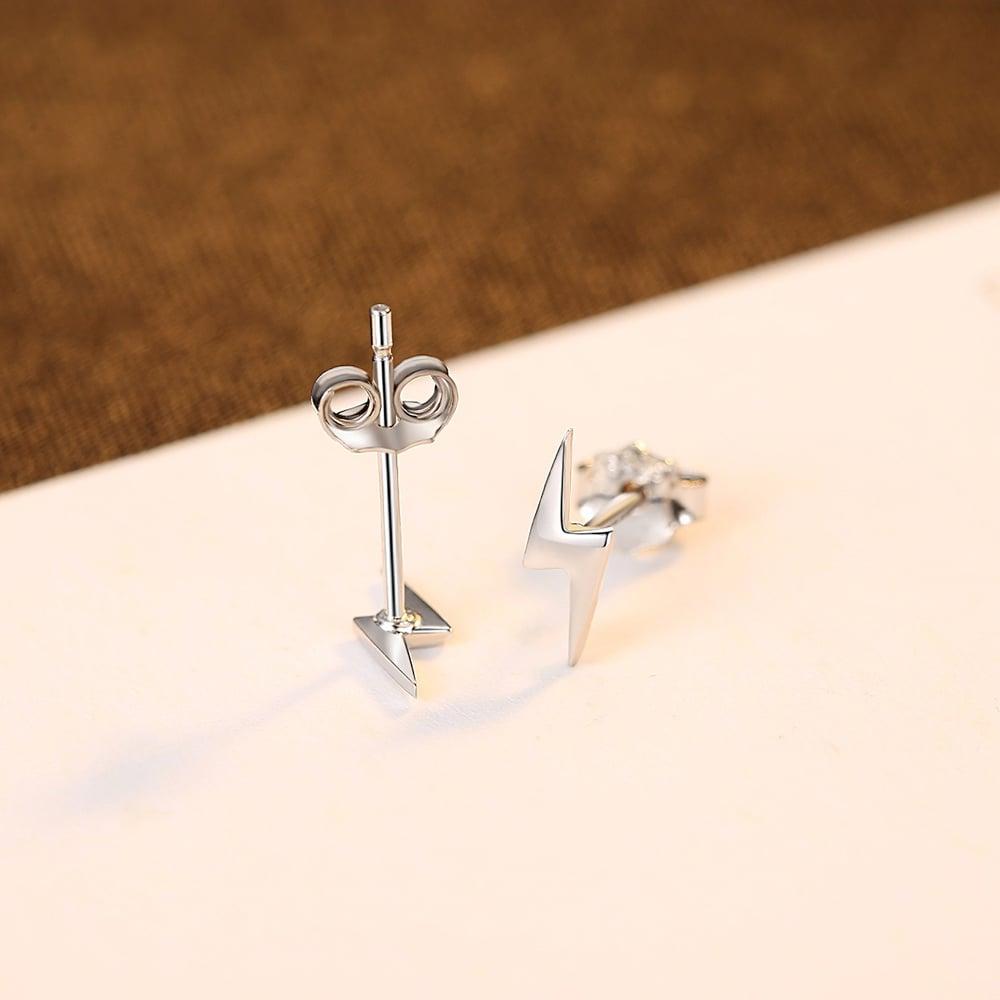 Lightning Bolt Stud Earrings (925 Silver)