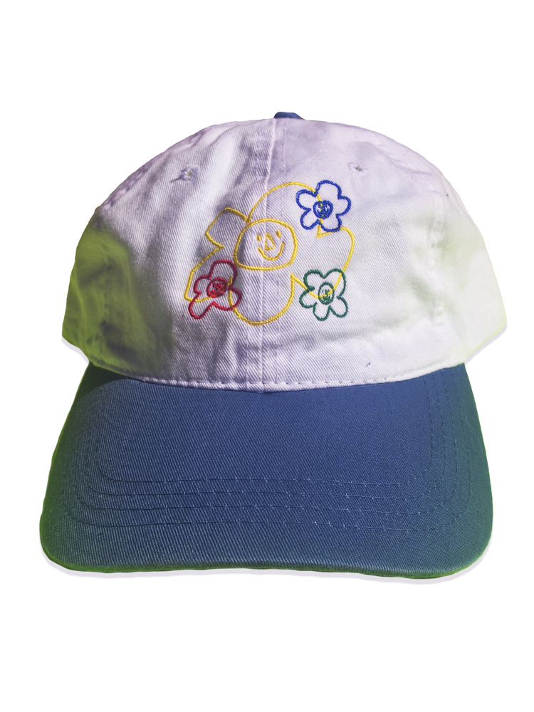 Image of Embroidered Logo Classic 6 Panel Hat (White / Blue)