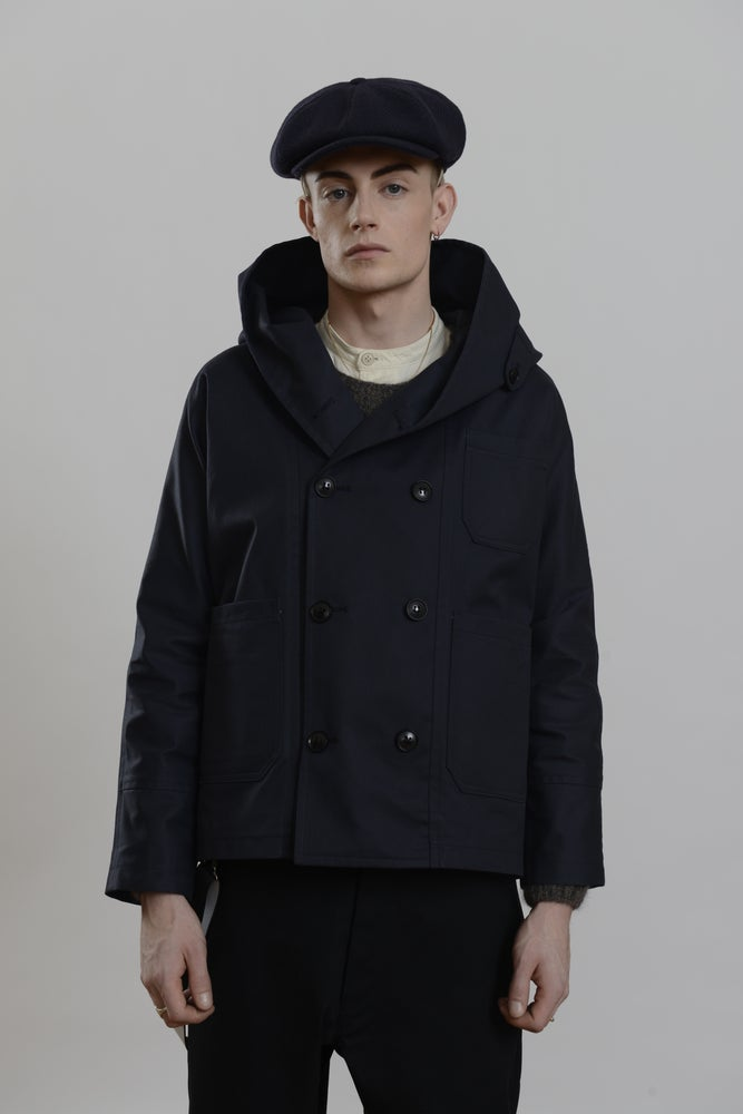 Image of Fisherman Short Wax Coat Dark Navy