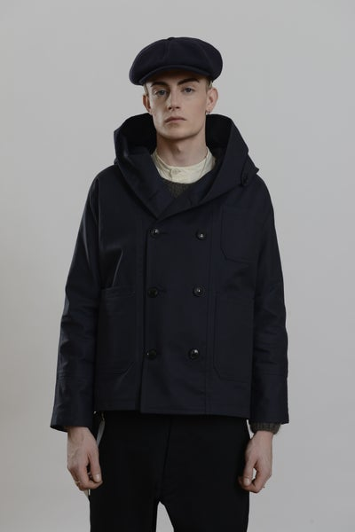 Image of Fisherman Short Wax Coat Dark Navy