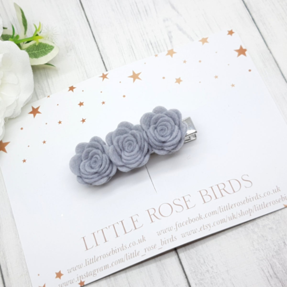 Image of CHOOSE YOUR COLOUR - 3 Small Felt Rose Hair Clip