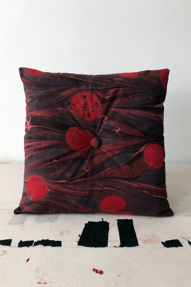 Image of Button Pillow - Blue