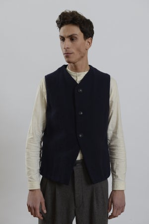 Image of Baxter Gilet Navy wool