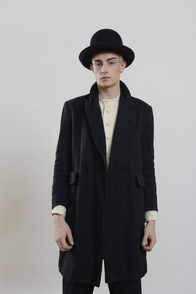 Image of Plangeur Coat Long in Cotton Herringbone