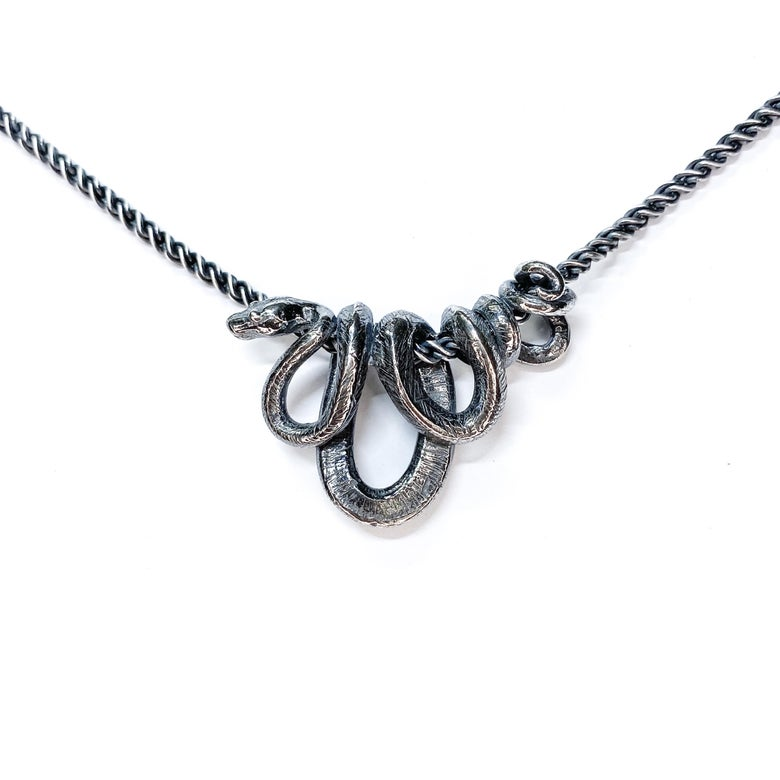Image of Morelia Viridis necklace in oxidized sterling silver