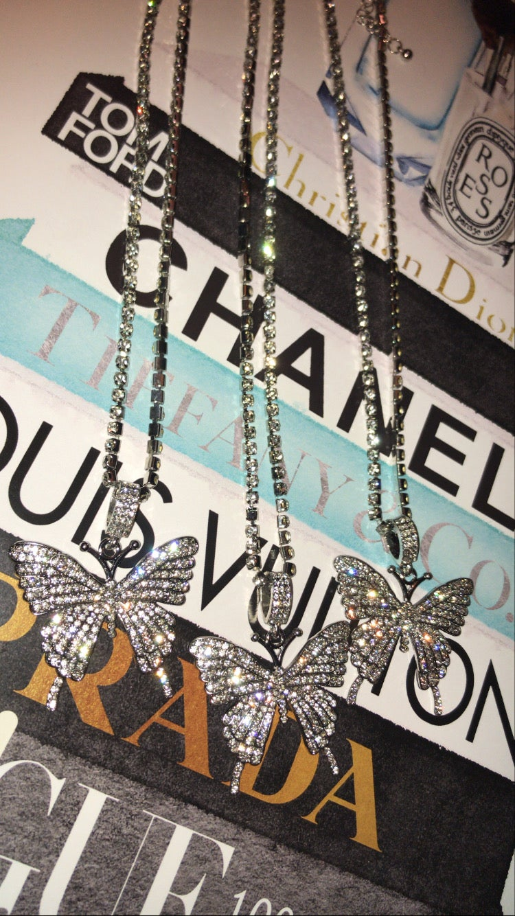 Silver Rhinestone Butterfly Necklaces