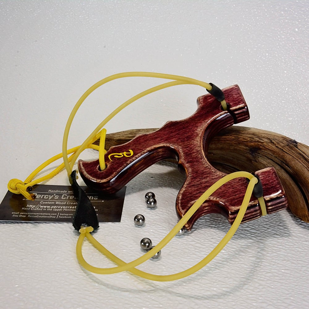 Image of Wooden Sling Shot, Custom Made Black Cherry Stained Slingshot, Hunting Gift, Wooden Catapult