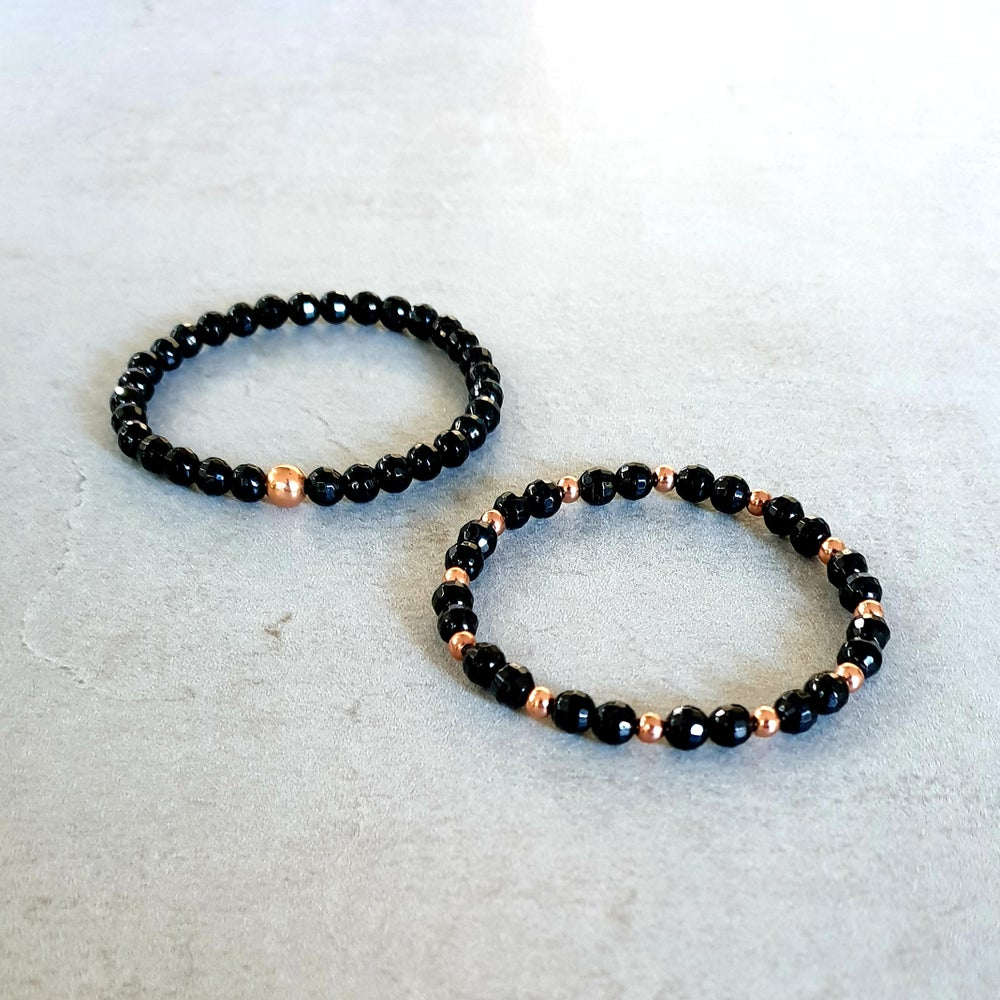 Image of Faceted BLACK TOURMALINE & COPPER PROTECTION BRACELET - 6mm bead size