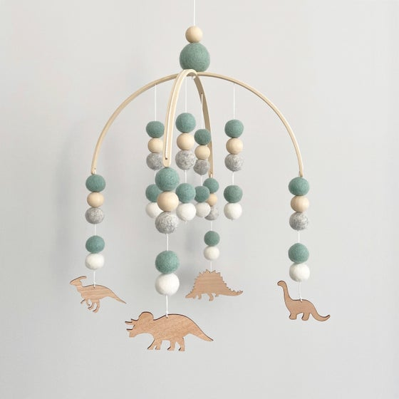 Image of Dino family felt ball mobile