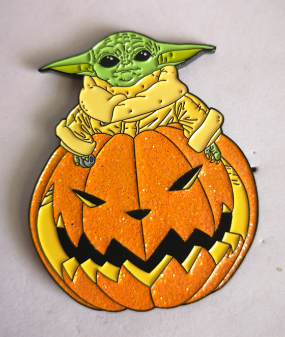 "Image of The Child Halloween Glow In the Dark 2"" lapel pin"