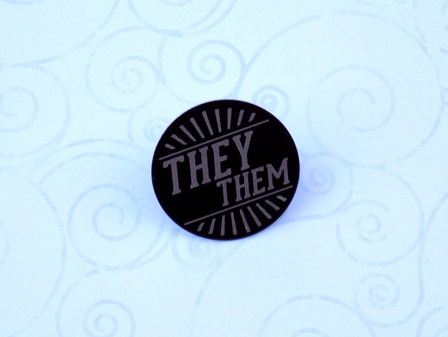 Image of They/Them Art Deco Pronoun Pin (Pay What You Can)