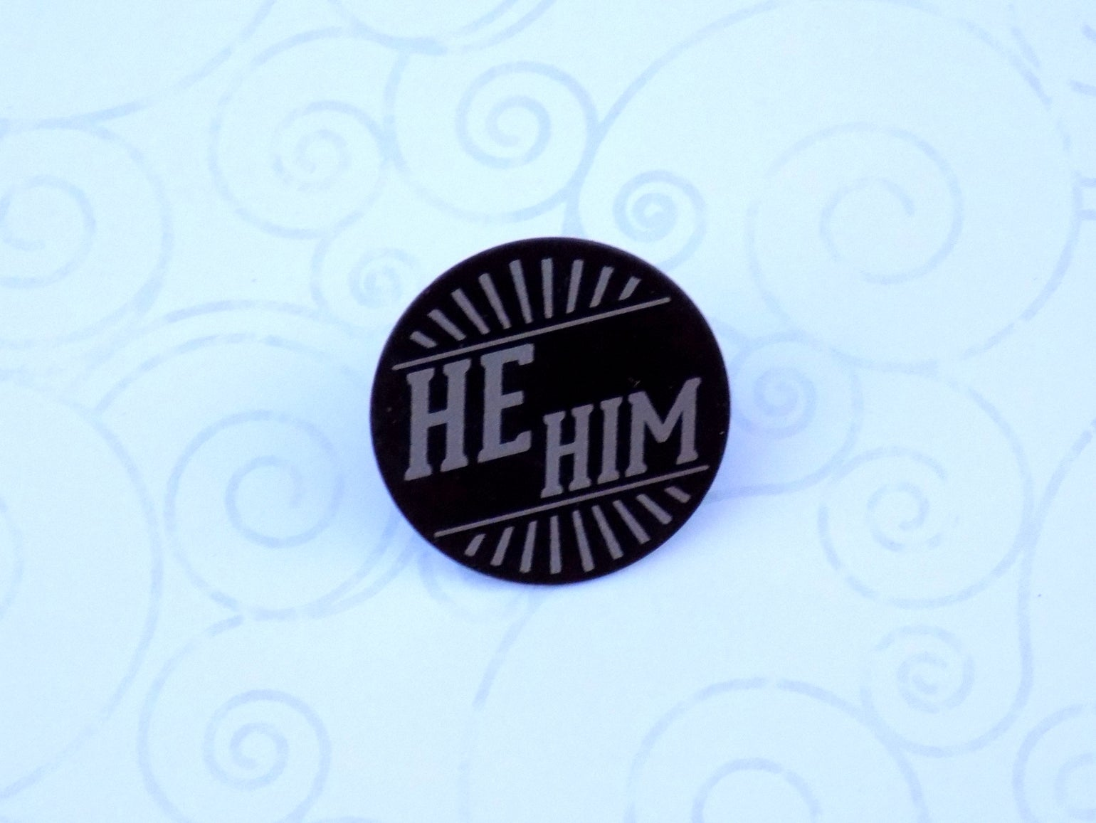 Image of He/Him Art Deco Pronoun Pin (Pay What You Can)