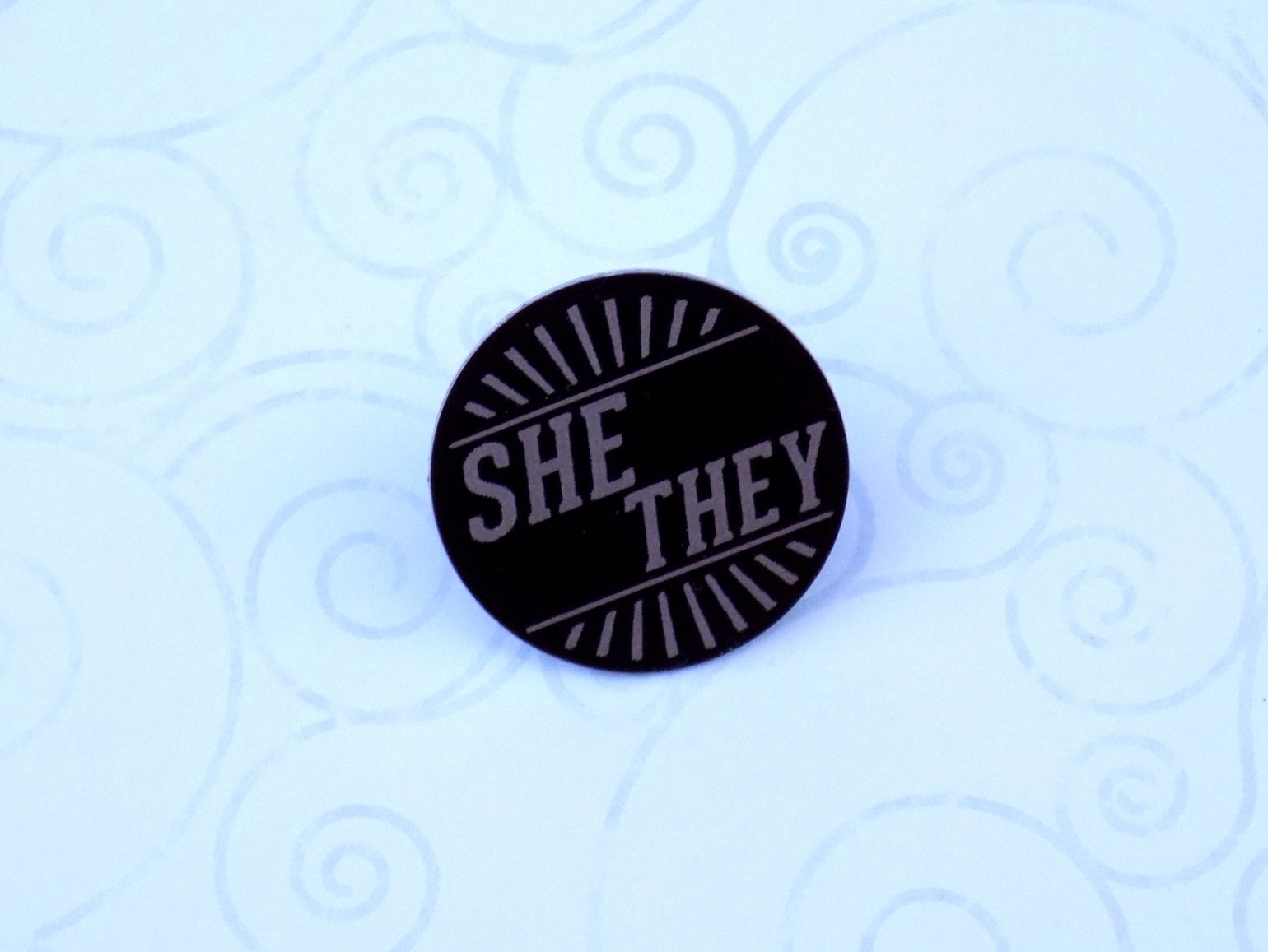 Image of She/They Art Deco Pronoun Pin (Pay What You Can)