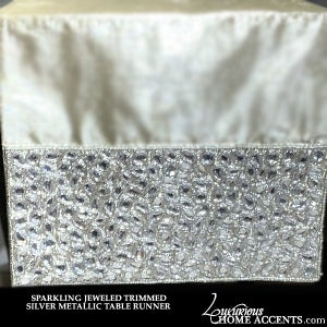 Image of Jeweled Trimmed Silver Metallic Dupioni Table Runner