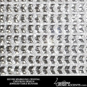 Image of Sparkling Crystal Silver Table Runner Chevron Design