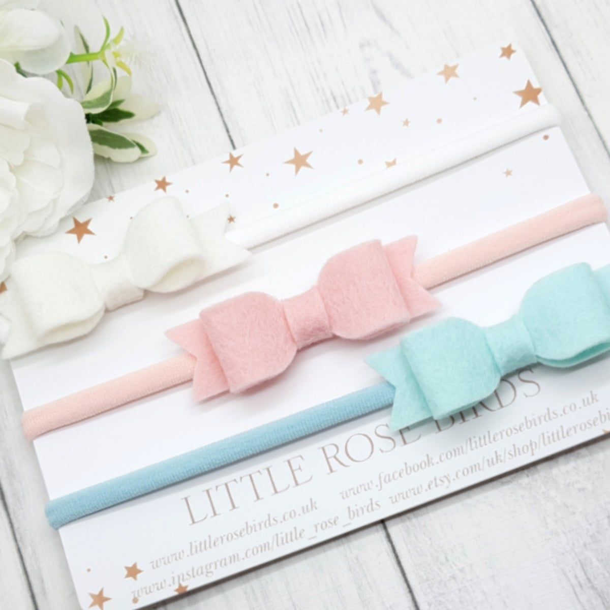 Image of Set of 3 White / Blush / Spearmint Bows - Choice of Headbands or Clips