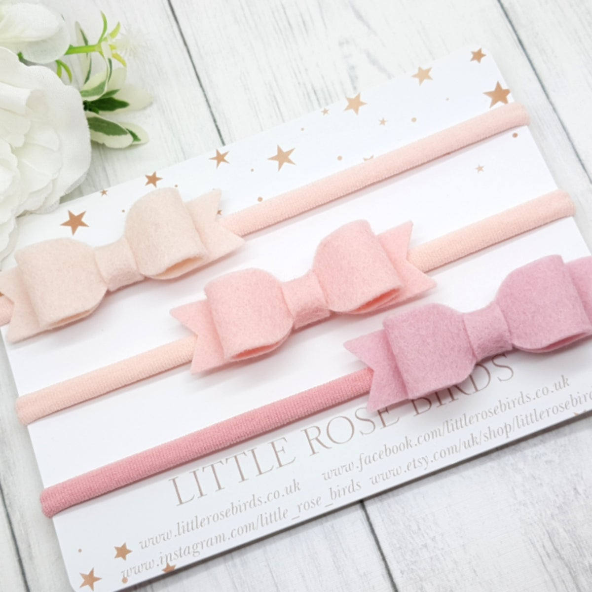 Image of Set of 3 Pastel Pink Bows - Choice of Headbands or Clips