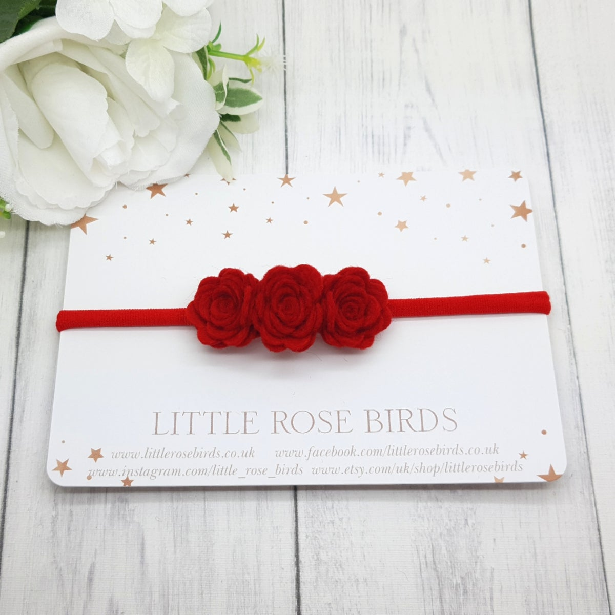 Image of Small 3 Red Rose Bow - Choice of Headband or Clip
