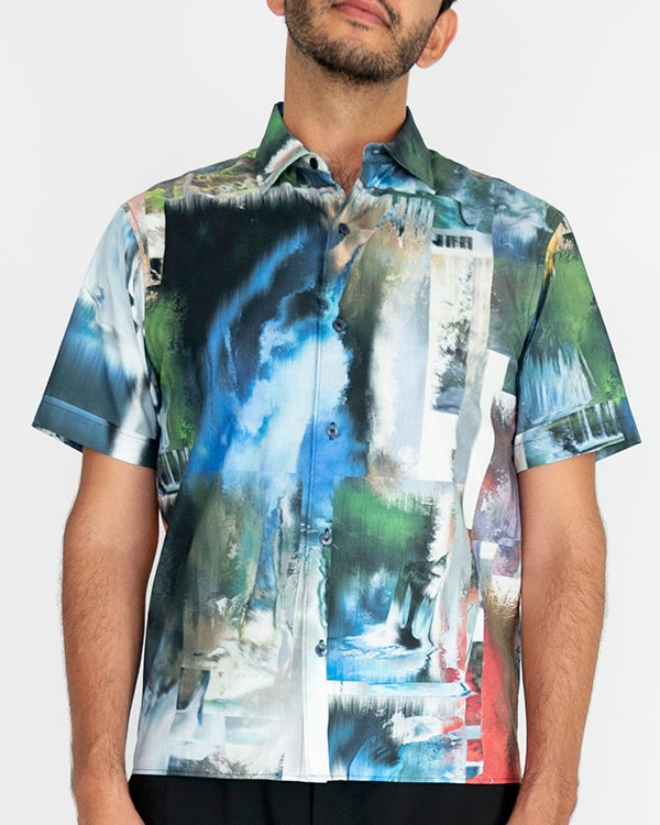 Image of Vincenzo Shirt in Green Multi PRE-ORDER