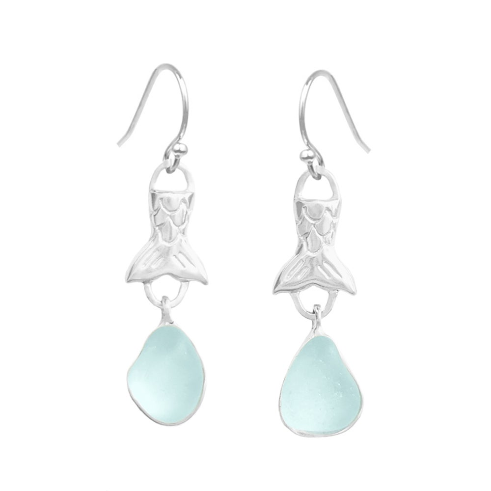 Image of Mermaid Tears Sea Glass Earrings