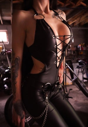 Image of Toxic Vision matte black Switchblade catsuit MULTI SIZE