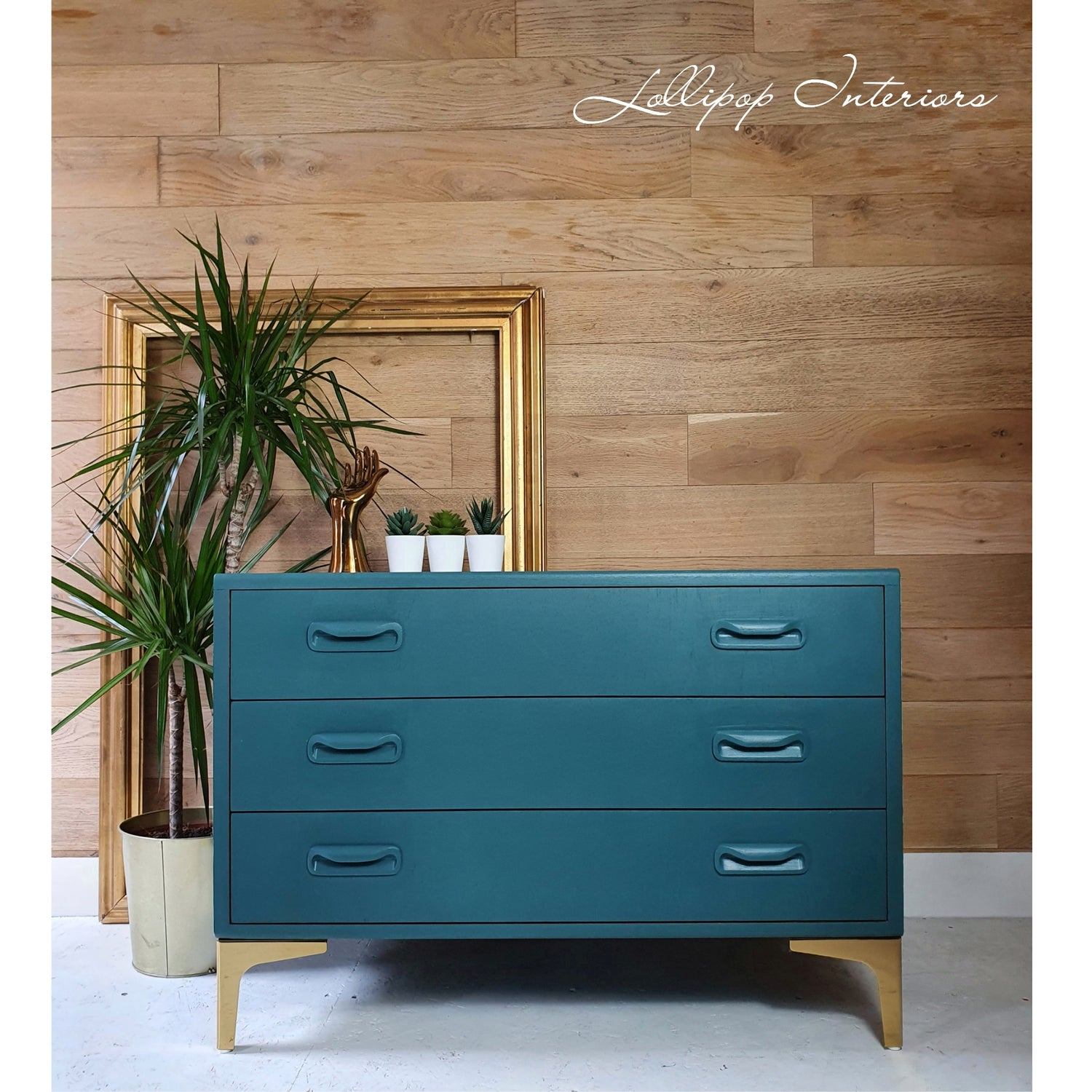 Image of G plan chest of drawers in green and gold