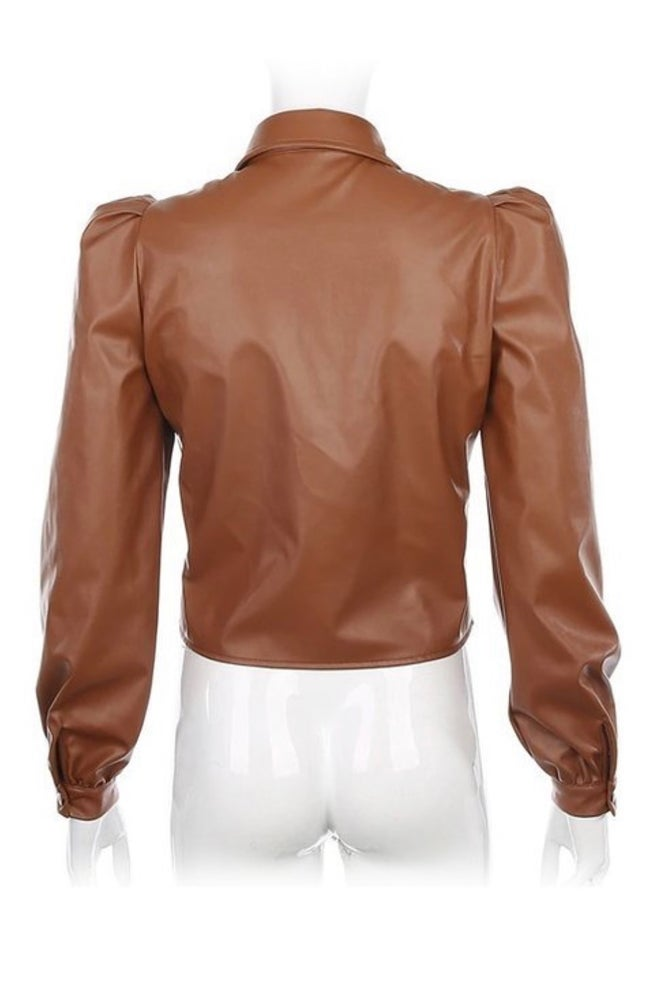 Image of Coco Puff Sleeve Leather Top