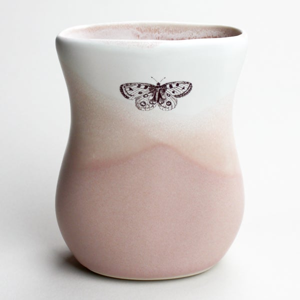 Image of curvy vase, blush watercolor, butterflies