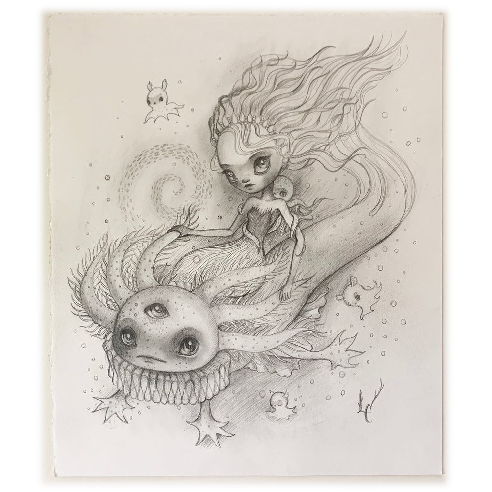 Image of Ride with the Walking Fish, Graphite Drawing