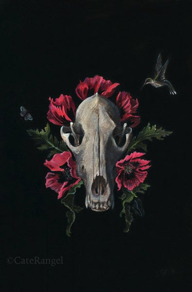 Image of Skull with Poppies - Framed Original Painting