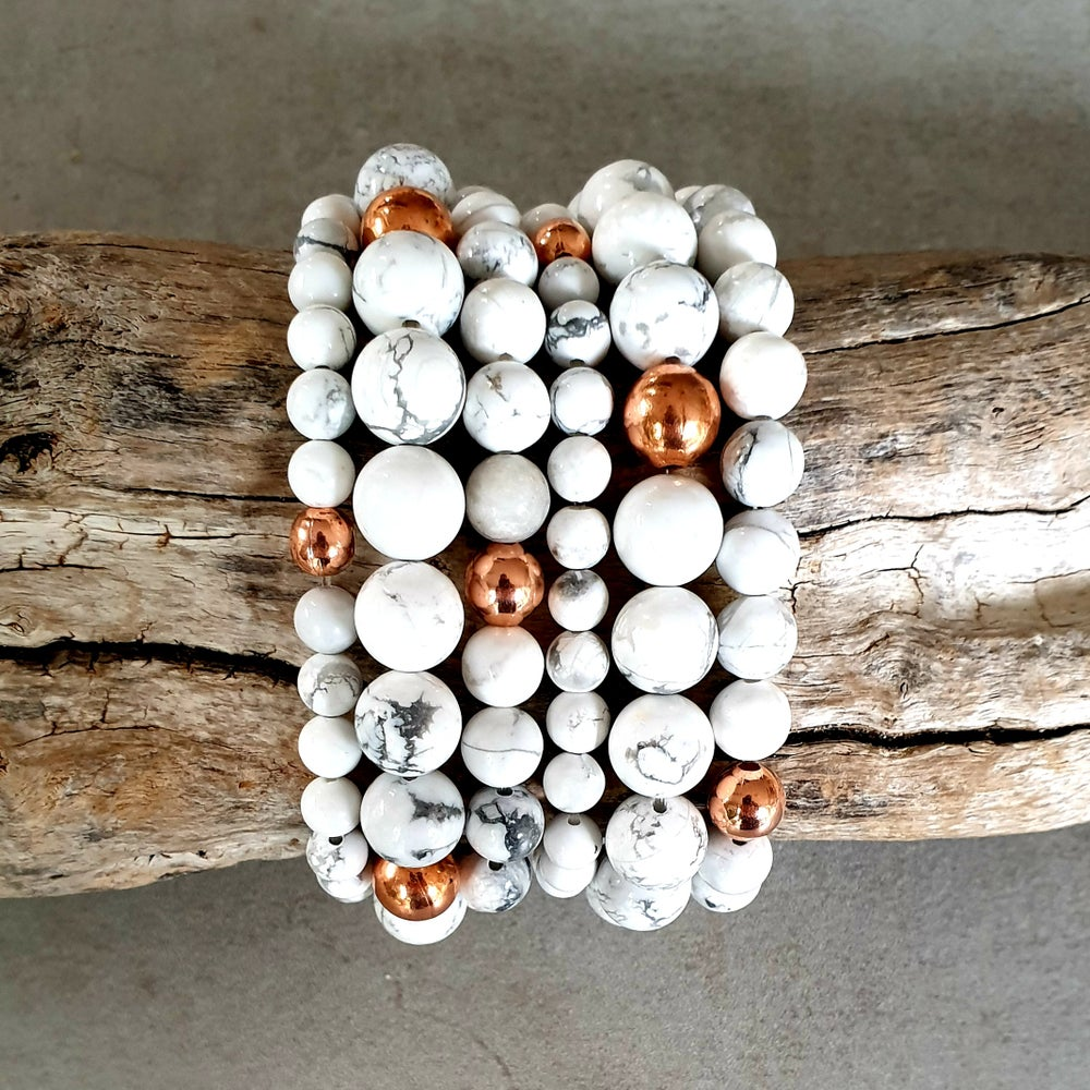 Image of HOWLITE & COPPER BRACELET - 6mm, 8mm & 10mm bead sizes