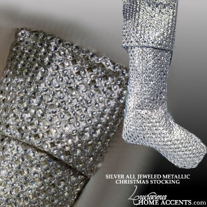 Image of Silver Metallic Jeweled Trimmed Christmas Stocking