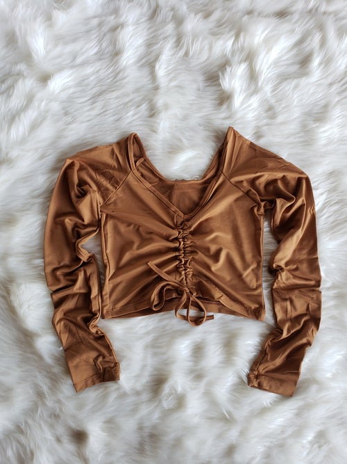 Image of Ruched Crop Top (Taupe)
