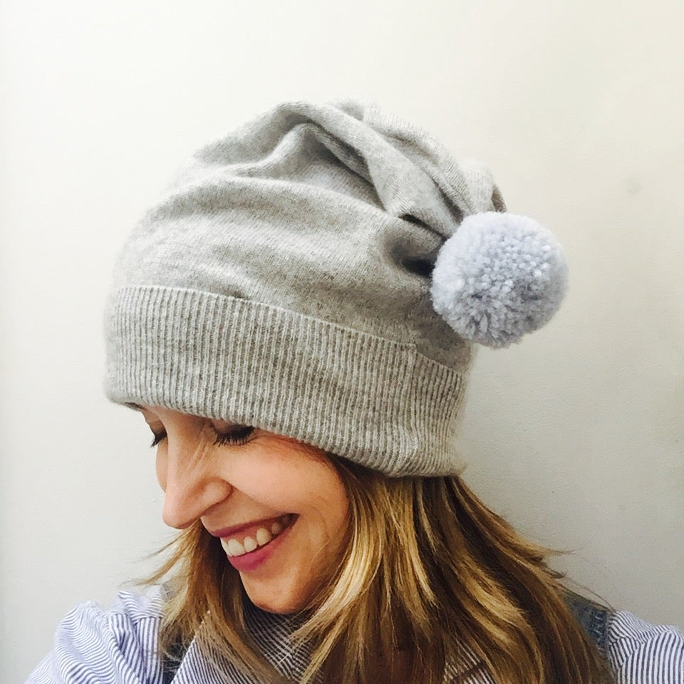 Image of Cashmere Slouch Bobble Beanie