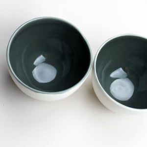 Image of roly soup/cereal/yogurt bowls, set of two, eggshell outside, thunder gray inside
