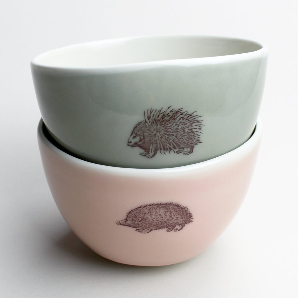 Image of roly soup/cereal/yogurt bowls, set of two, with porcupine and hedgehog