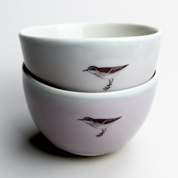 Image of roly soup/cereal/yogurt bowls, set of two, with sandpipers